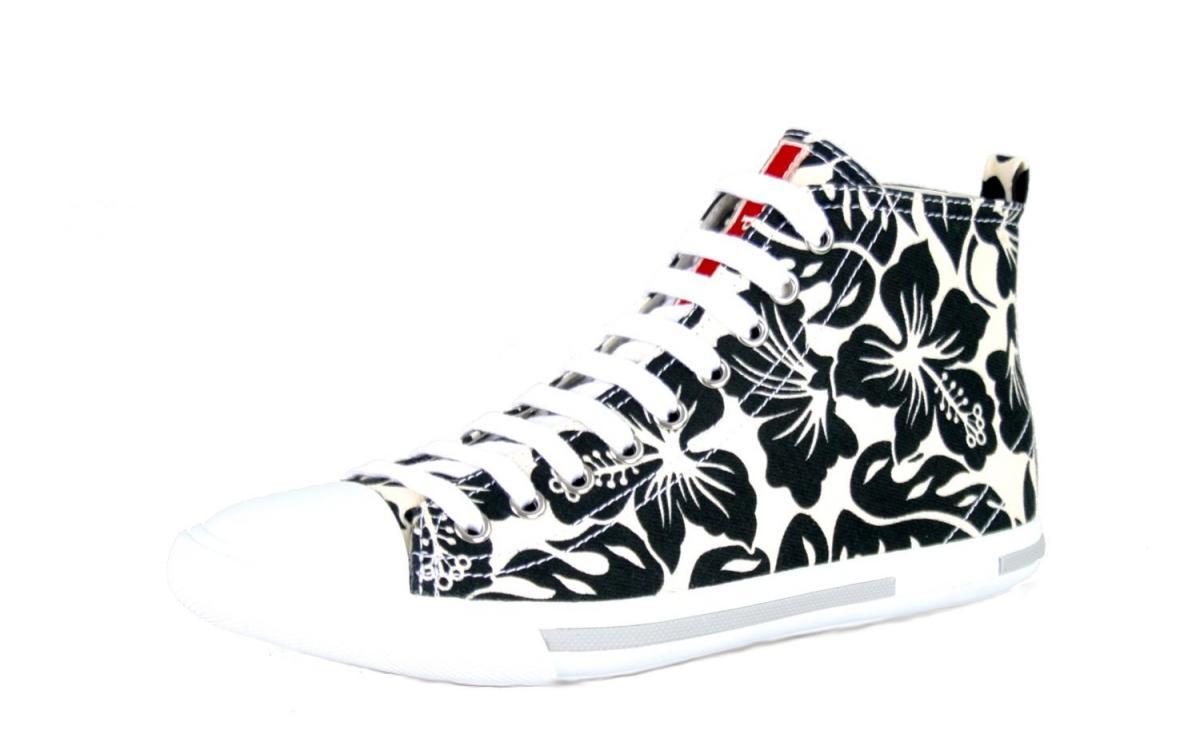 luxury prada floral sneakers 3t5731 black white new 38 38 5 uk 5 ebay. Black Bedroom Furniture Sets. Home Design Ideas