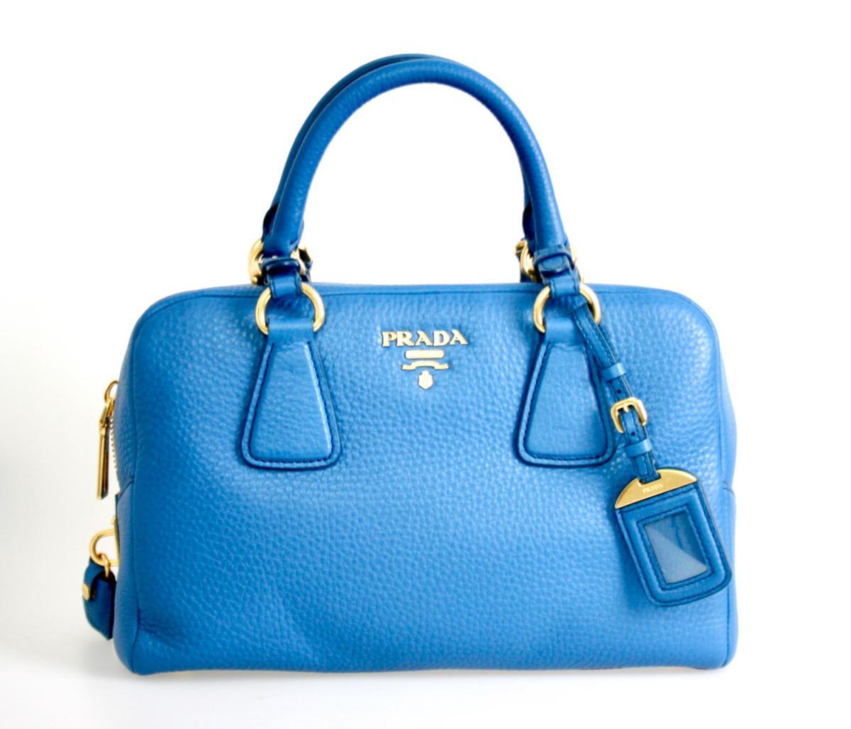 AUTHENTIC LUXURY PRADA SHOULDER BAG HANDBAG B3091M BLUE ...