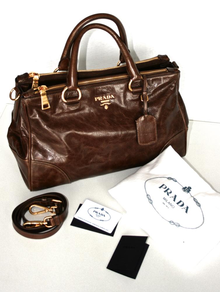 prada luxus handtasche tasche purse handbag antic nocciolo. Black Bedroom Furniture Sets. Home Design Ideas