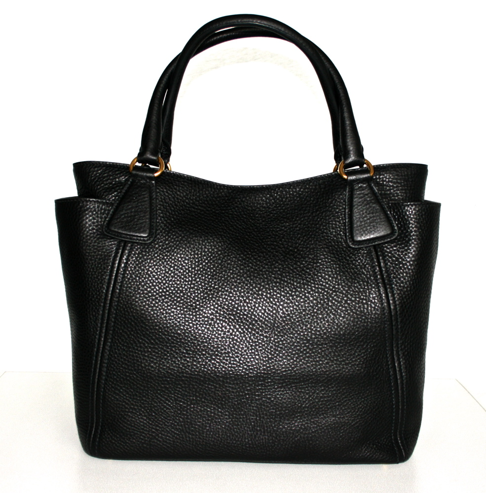authentic luxury prada leather bag handbag purse black nero bn2435 nwt new nwt. Black Bedroom Furniture Sets. Home Design Ideas